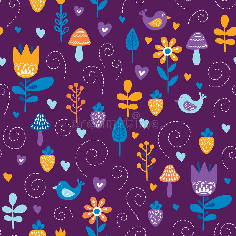 Forest friends vector seamless pattern. Kids background with cute birds and plants in colors of purple, orange and blue stock illustration