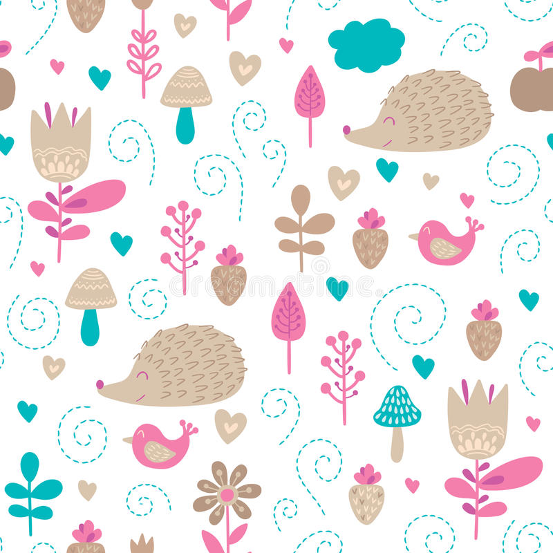 Forest friends vector seamless pattern. Kids colorful background with cute animals, birds and plants stock illustration