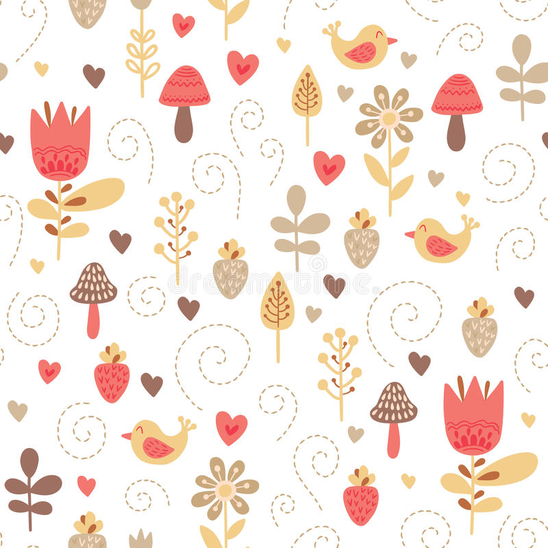 Forest friends vector seamless pattern. Kids colorful background with cute birds and plants vector illustration