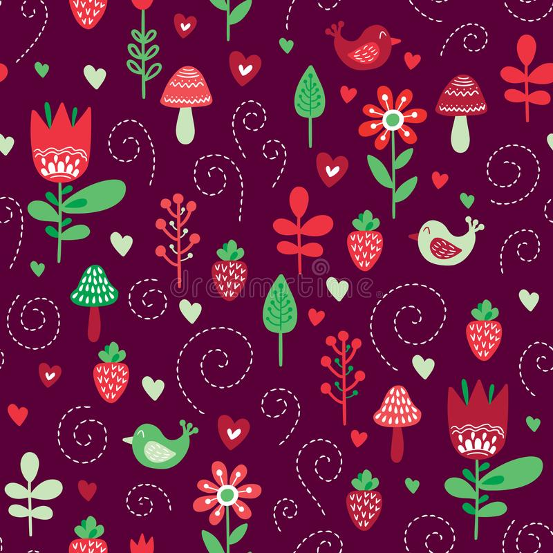 Forest friends vector seamless pattern vector illustration