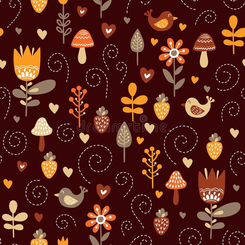 Forest friends vector seamless pattern. royalty free illustration