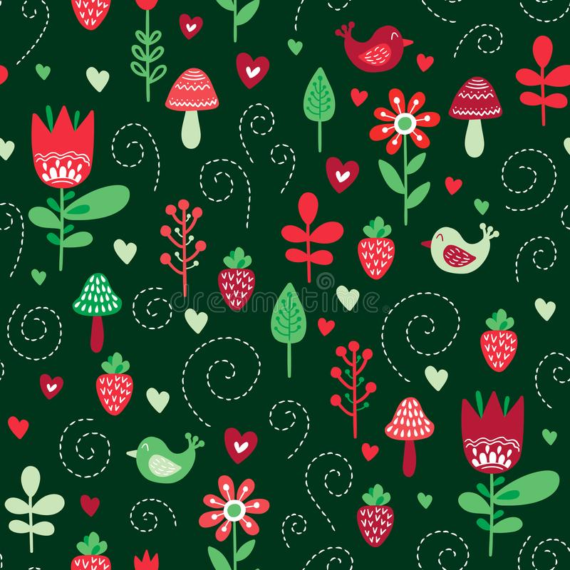 Forest friends vector seamless pattern. Kids background with cute birds and plants in colors red, pink and green royalty free illustration