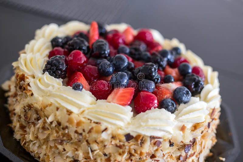 Forest fruits cake. Cake with forest fruits and cream stock photo