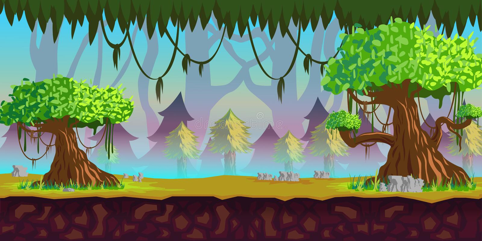Forest Game Background stock illustrationer