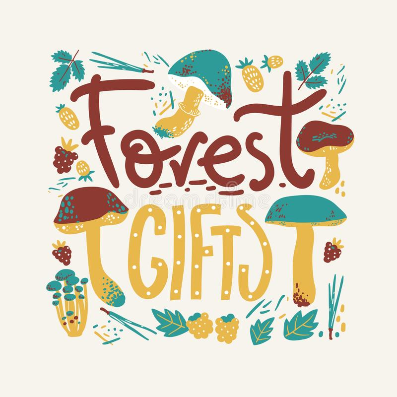 Forest gifts rlettering poster. Mushrooms and berries. Linocut old style. Hand drawn vector illustration. stock photography