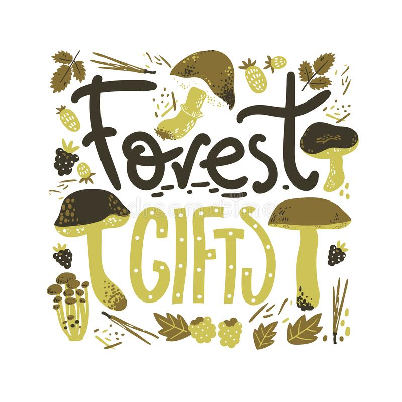 Forest gifts rlettering poster. Mushrooms and berries. Linocut old style. Hand drawn vector illustration. stock image