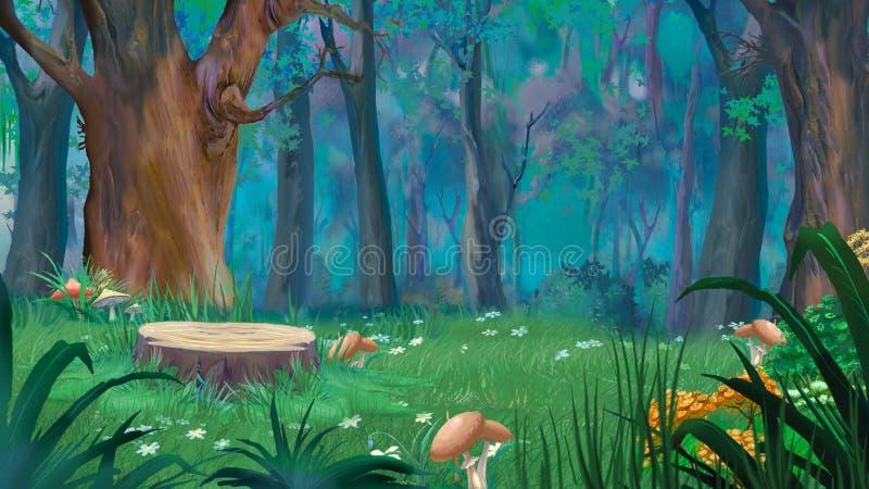 Forest Glade med den stora stubben och champinjoner i en sommardag stock illustrationer