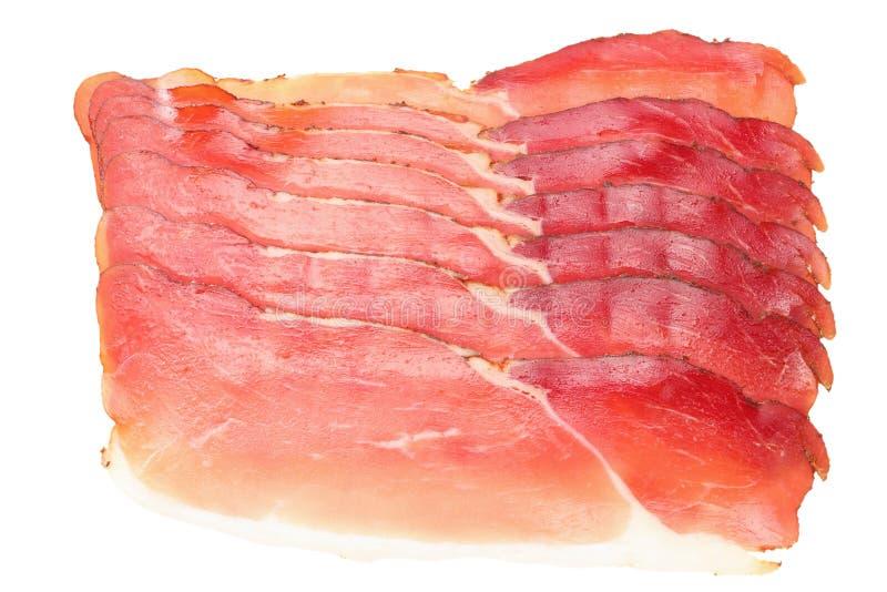 Forest Ham Isolated preto fumado cru no fundo branco Vista superior fotos de stock royalty free