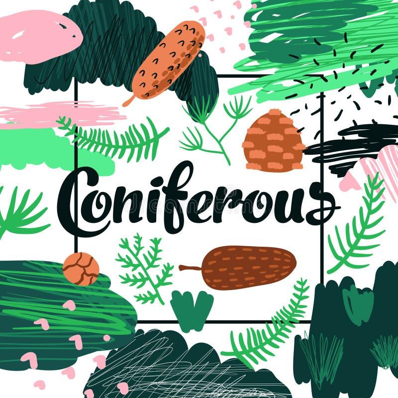 Forest Hand Drawn Design conifero Sfondo naturale puerile per il manifesto, cartolina d'auguri, decorazione, copertura royalty illustrazione gratis