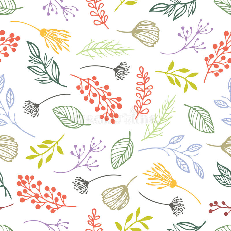 Forest herbs seamless background royalty free illustration