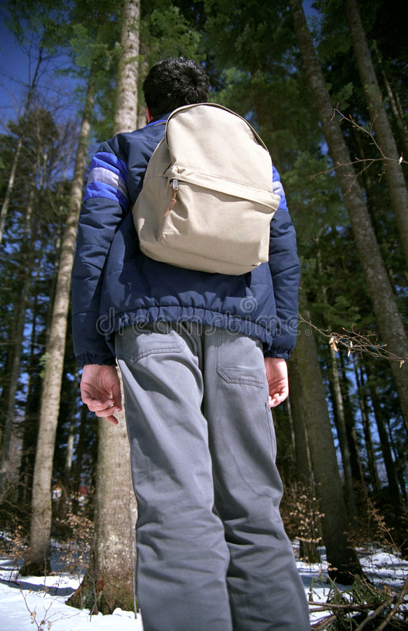 Forest hiking. Young man ready for forest hiking with his backpack. 35mm film scan stock image
