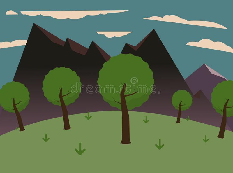 Forest on hills with big mountains and sky.Green meadows royalty free illustration