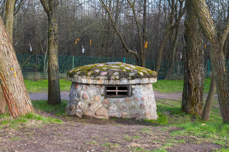 Forest house gnome. Mushroom hut in the forest royalty free stock photography