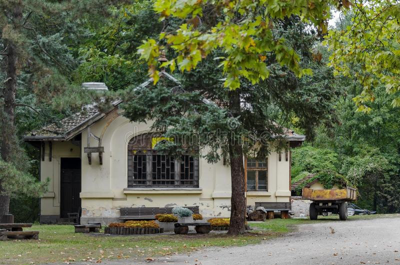 Forest house in National monument of landscape architecture Park in former time royal residence on the outskirts of Sofia. Bulgaria, Europe royalty free stock image