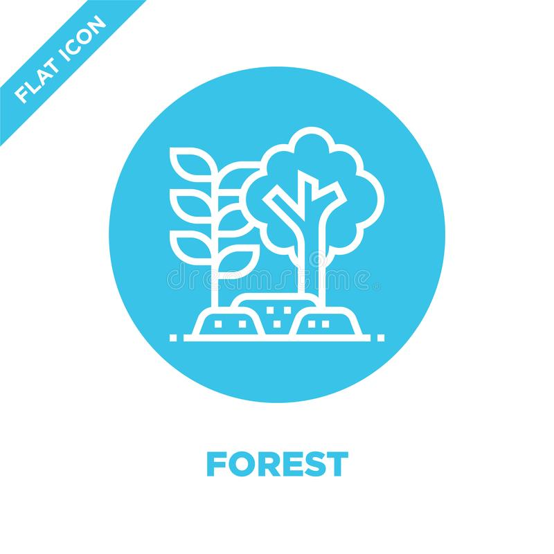 Forest icon vector from global warming collection. Thin line forest outline icon vector  illustration. Linear symbol for use on. Web and mobile apps, logo stock illustration