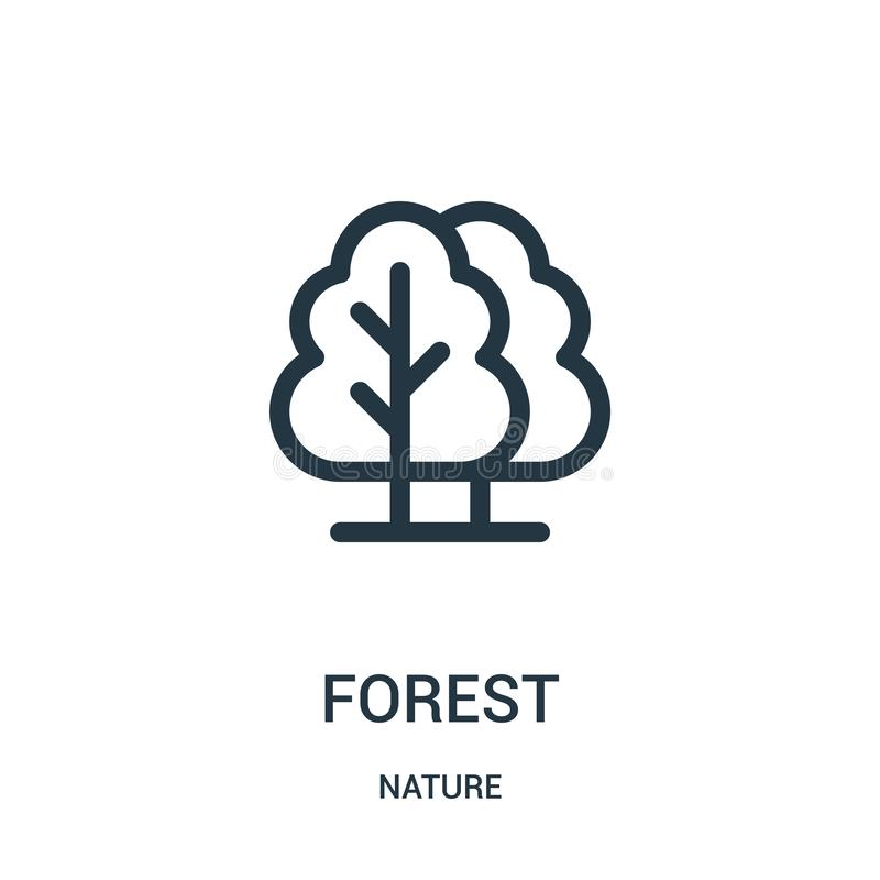 forest icon vector from nature collection. Thin line forest outline icon vector illustration. Linear symbol for use on web and vector illustration