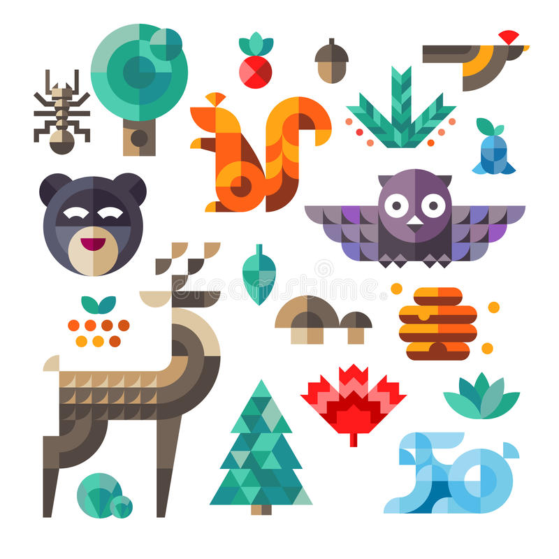 Forest icons, geometric proportions. Vector set of cute flat various forest icons, geometric proportions. Forest animals contain owl, deer, squirrel, rabbit royalty free illustration
