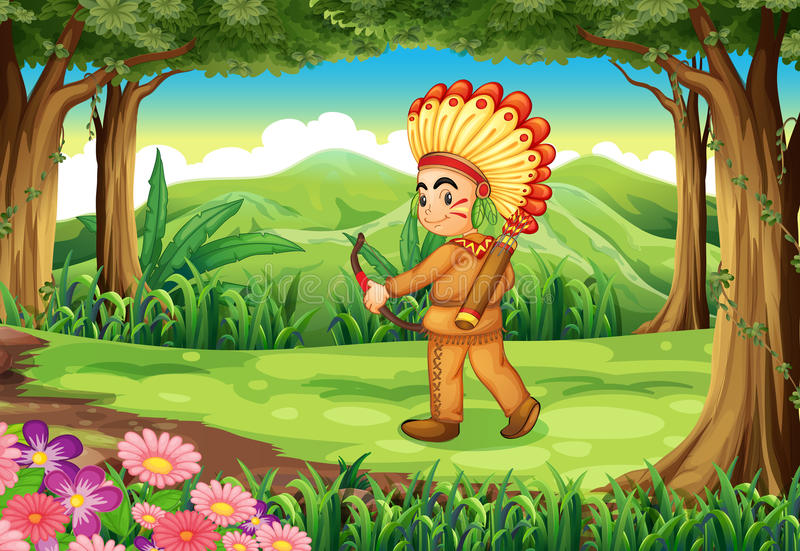 A forest with an Indian royalty free illustration