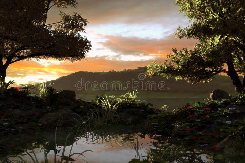 Download Forest Lake stock illustration. Image of water, forest - 25705026