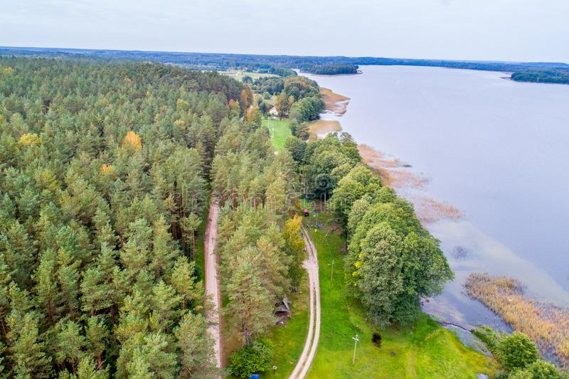 Forest and lake aerial shoot. With drone royalty free stock image