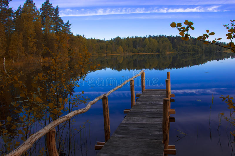 Forest lake, Karelia, Russia. The nature of Russia, the Northern landscape, the nature of Karelia, the sunrise on the lake royalty free stock image