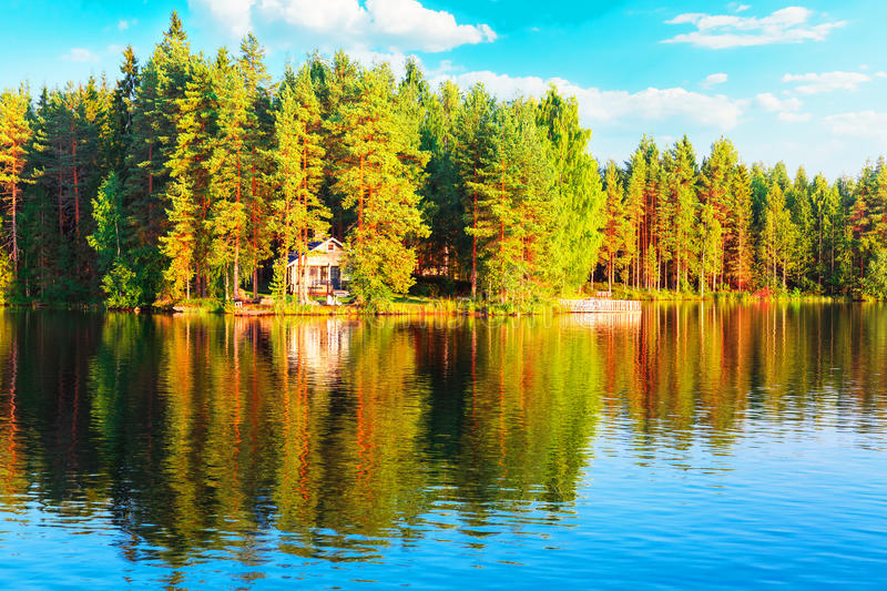 Forest and lake scenery in Finland stock photo