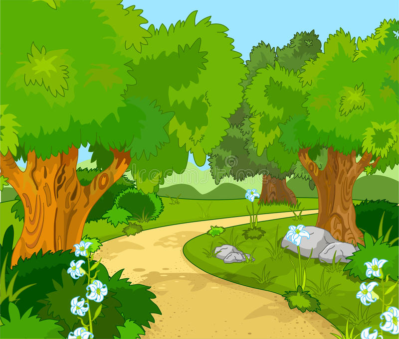 Forest Landscape. A Green Forest Landscape with Trees and flowers stock illustration