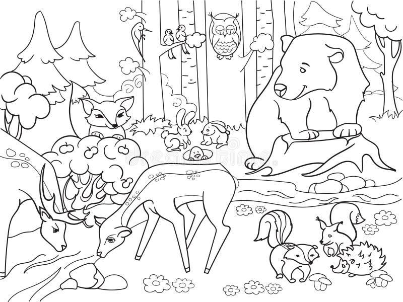 Forest Landscape con los animales que colorean la trama para los adultos stock de ilustración