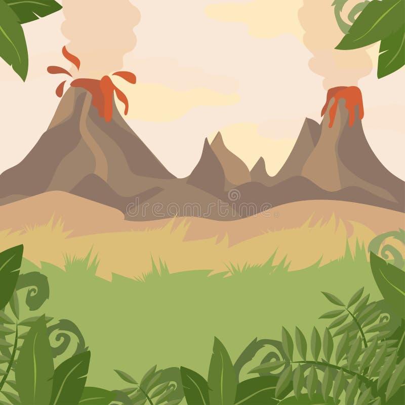Forest Landscape met Vulkaan en wildernisinstallaties stock illustratie