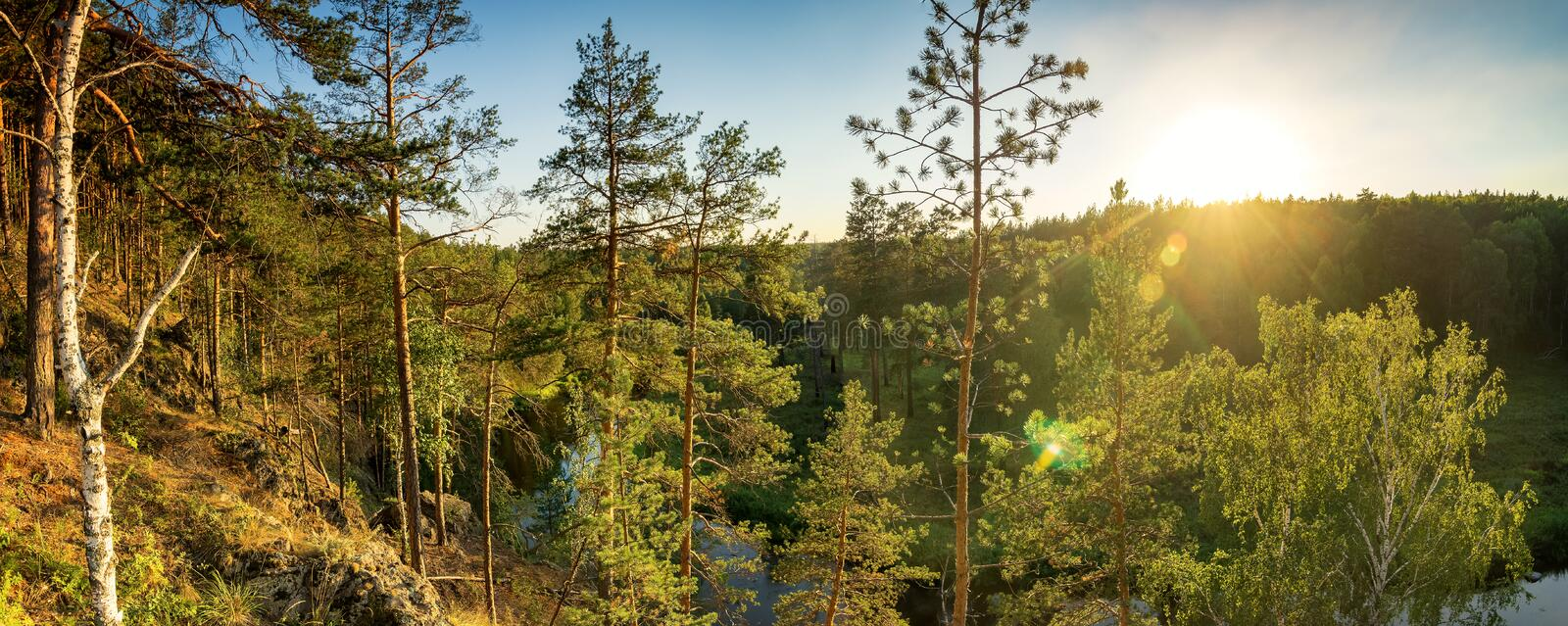 Forest landscape with a river and a rocky shore Sunny day, Russia, the Urals royalty free stock image