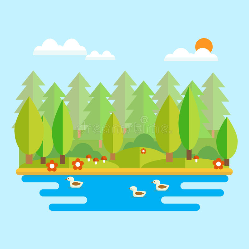 Forest landscape. Vector illustration in flat style. Forest lake with ducks and forest in the background on a sunny day stock illustration