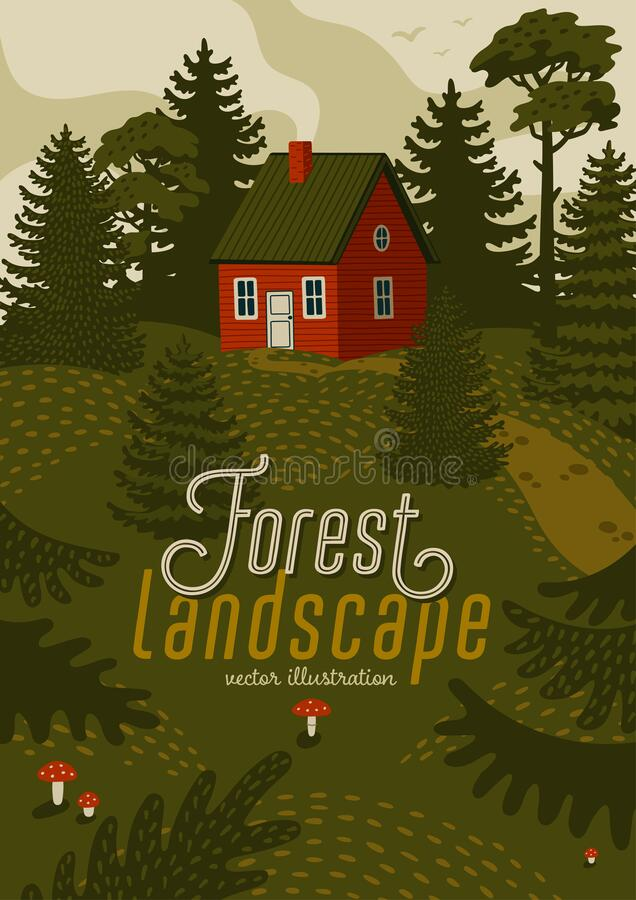 Free Forest Landscape. Woods Landscape With Red Cabin. Royalty Free Stock Photography - 195252997
