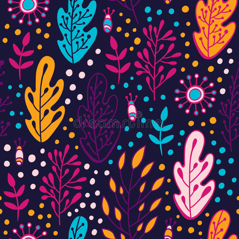 Forest leaves seamless pattern. Spring or summer nature background in colors of purple, pink, blue and orange stock illustration