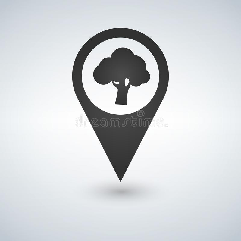 Forest location icon. tree inside pinpoint. Vector isolated illustration. stock illustration