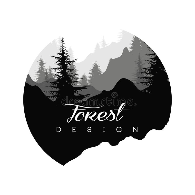 Forest logo design, nature landscape with silhouettes of trees and mountains, natural scene icon in geometric round. Shaped design, vector illustration in black royalty free illustration