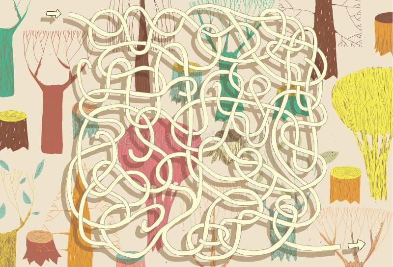 Forest Maze Game. Soluzione nello strato nascosto! royalty illustrazione gratis
