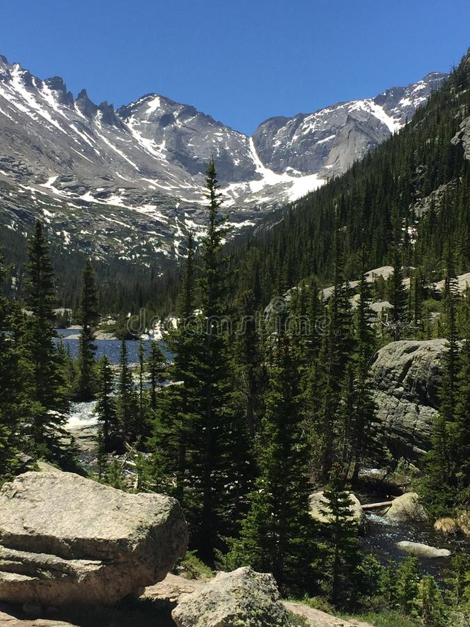 Forest and Mills Lake in Rocky Mountain National Park. A view over the forest at Mills Lake at Rocky Mountain National Park in Colorado, USA royalty free stock photography