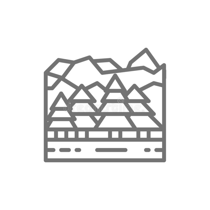 Forest and mountains, canadian landscape line icon. vector illustration