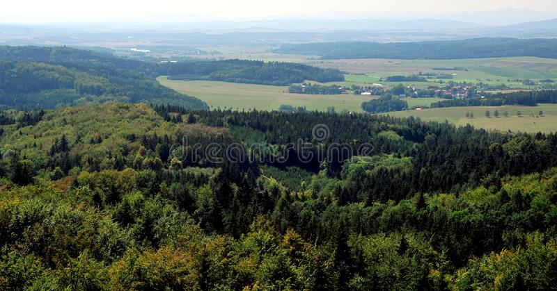 Forest near Pisek and view over the town, Southern Bohemia, Czech Republic stock images
