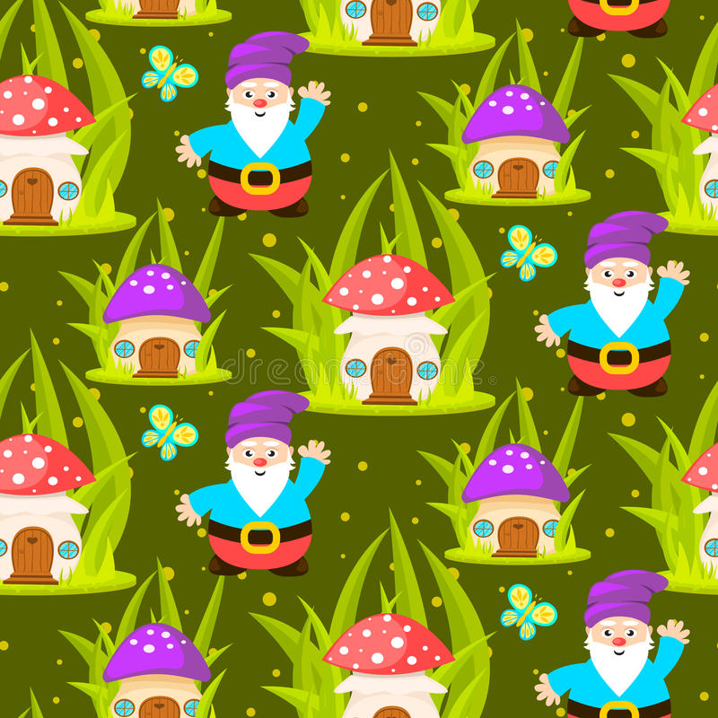 Forest mushroom home and gnomes seamless pattern. stock illustration