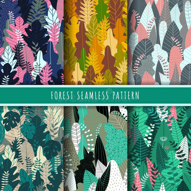 Forest and nature seamless pattern. Jungle patterns vector. Set of 6 tree and tropical leaf background. royalty free illustration