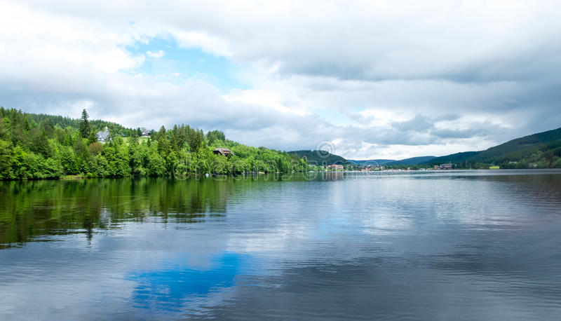 Forest nearby lake at Titisee-Neustadt, Germany. Forest nearby lake at Titisee-Neustadt, Germany in cloudy summer day stock images