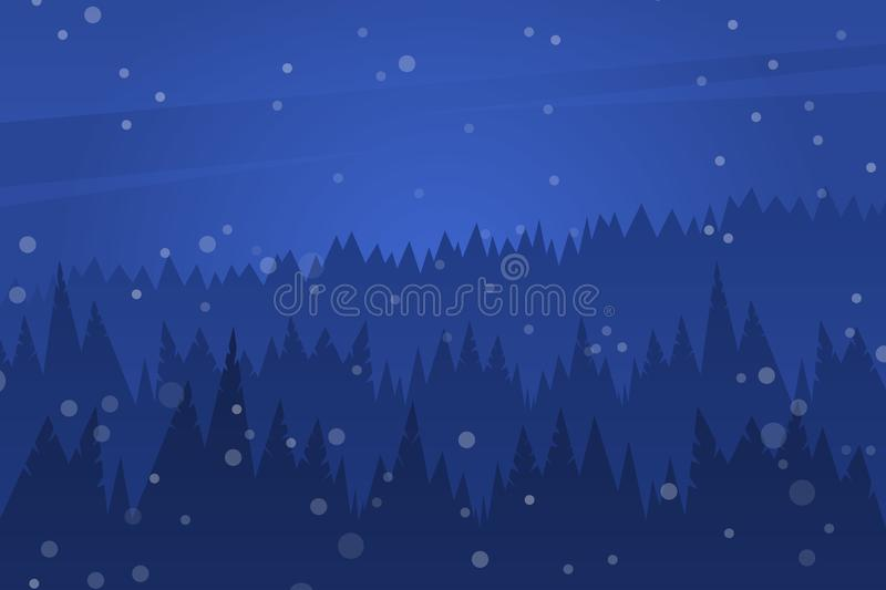 Forest at night sky. Night christmas landscape. Silhouette of pines and snow stock illustration
