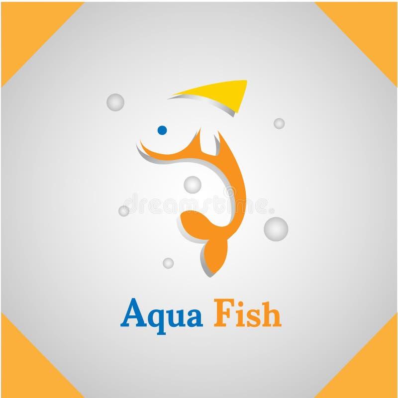 Aqua Fish silhouette animal icon vector logo stock photo