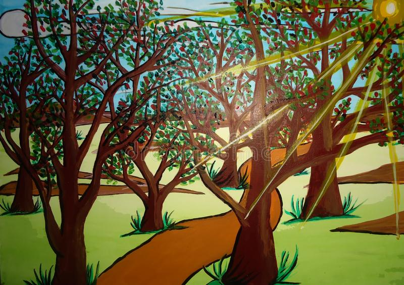 Forest painting on canvas created background design. As abstract wallpaper royalty free stock photos