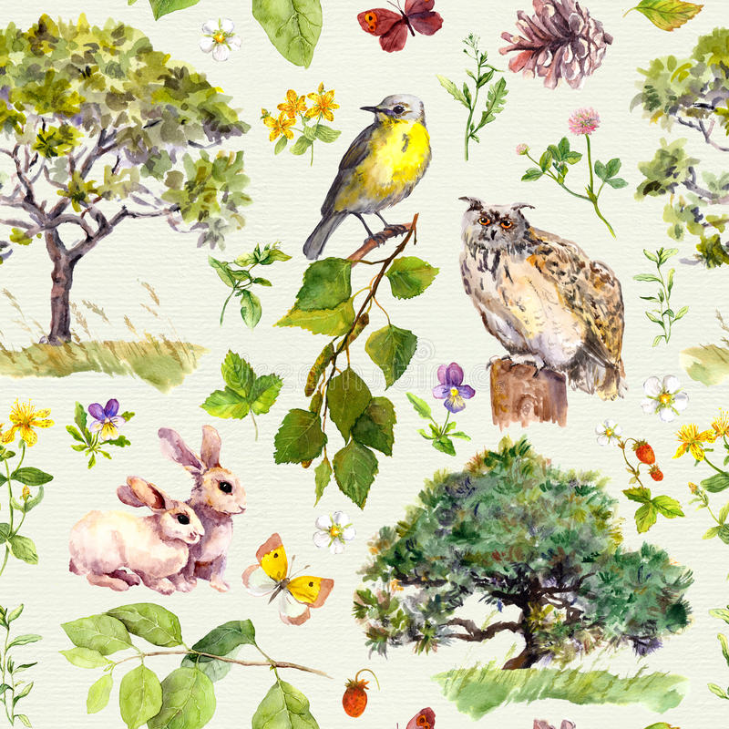 Forest and park: bird, rabbit animal, tree, leaves, flowers, grass. Seamless pattern. Watercolor. Forest and park - bird, rabbit animal, tree, leaves, flowers royalty free illustration