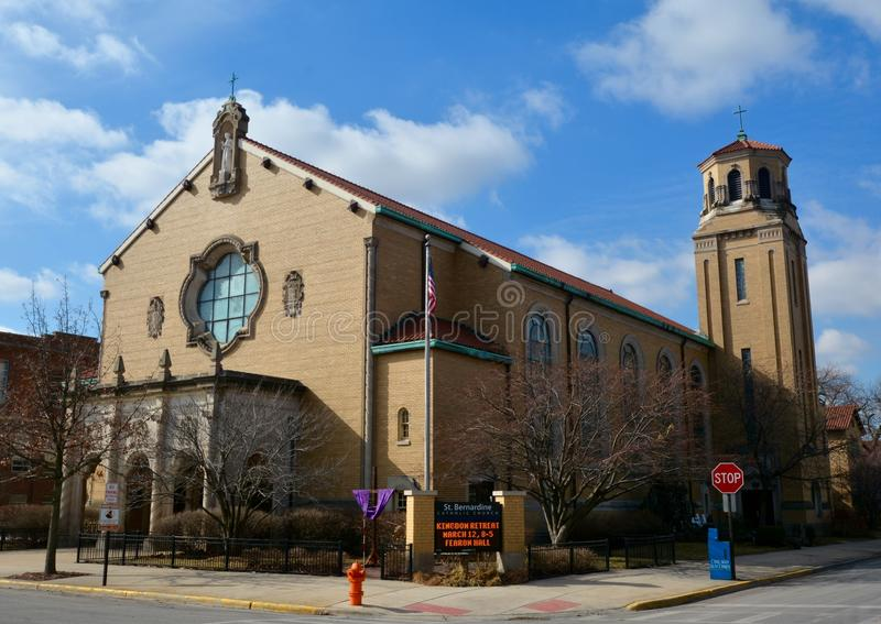Forest Park Church. This is a Winter picture of St. Bernardine Church located in Forest Park, Illinois. This church built in 1941 was designed by the architects stock images