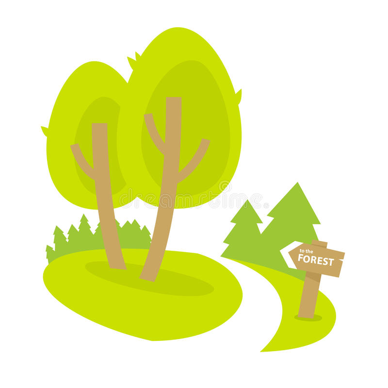 Forest path. And road sign vector illustration