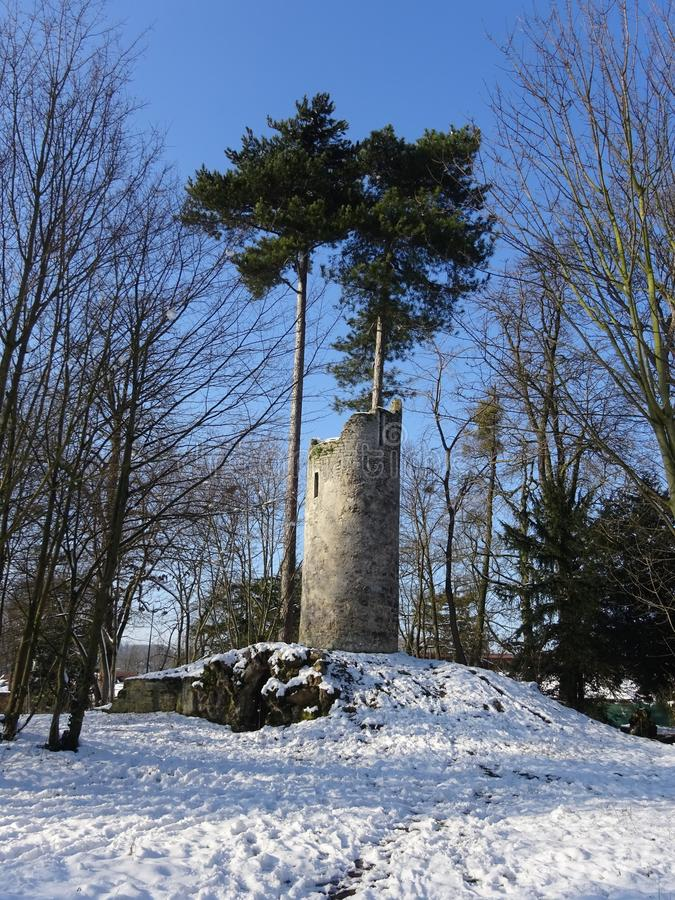 Fort ruins in snow covered grounds - Bois de Bouloge stock photo