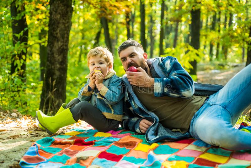 Forest picnic hiking. Hipster bearded dad with son spend time in forest. Brutal bearded man and little boy eat apples royalty free stock photo